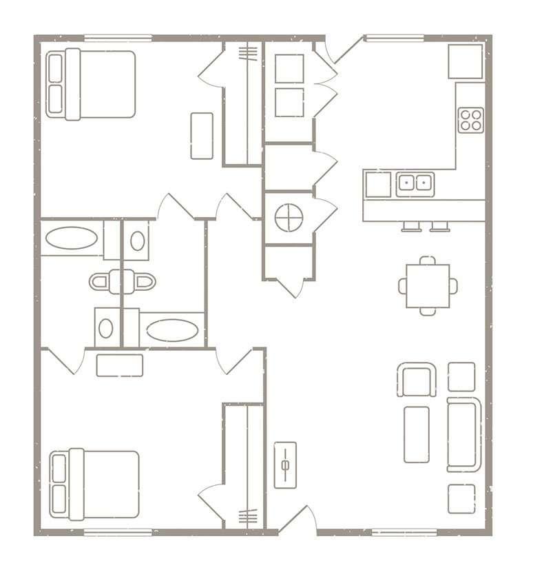 2 Bedroom 2 Bath Apartment Rates & Floorplans