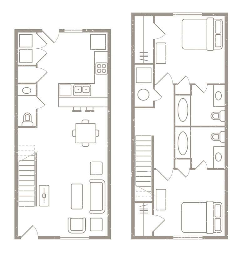 2 Bedroom 2½ Bath Apartment Rates & Floorplans