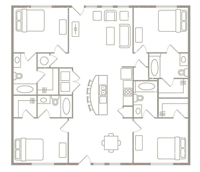 4 Bedroom 4 Bath Apartment Rates & Floorplans